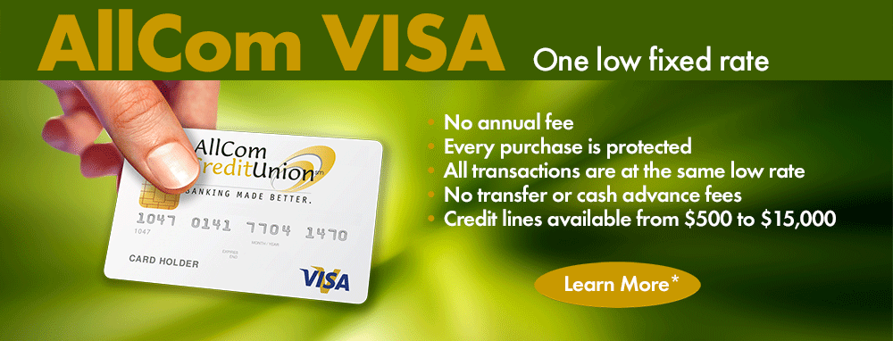 AllCom VISA One low fixed rate - learn more